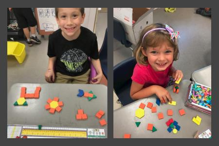 students working with 2D shapes for math